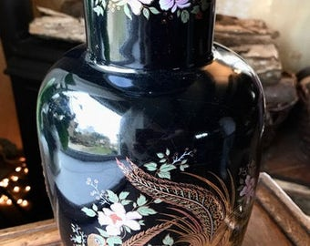 Vintage vase with painting in japanese style, from the 1970s