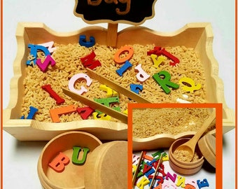 Alphabet Sensory Bin / Rainbow Letters Sensory Tub / Montessori / Fine Motor / Scooping / Tonging / Reggio Emilia / Loose Parts / Preschool