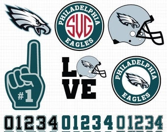 Philadelphia Eagles- Cuttable Design Files (SVG, EPS, JPG) For Silhouette Studio, Cricut Design Space, Cutting Machines,Instant Download