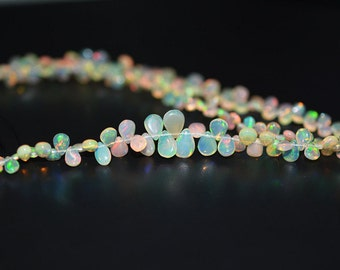 Natural Ethiopian Opal Pear Shape Briolette Beads / 3x5-5x7 mm / 8inches