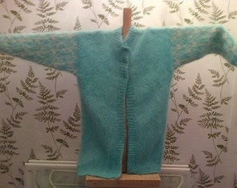MOHAIR DESIGNER KNITWEAR Knitted long jacket coatagan  aqua and cream size 14