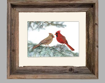 Cardinal - Framed- Barnwood