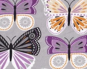 "FLANNEL Purple Butterflies - 12"" x 44"" Remnant"