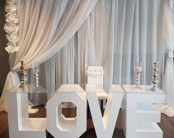 Love letter table, marquee letter table, marquee letters, handmade table, custom table