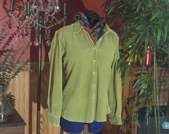 Size M Lime green corduroy 100% Cotton button down shirt