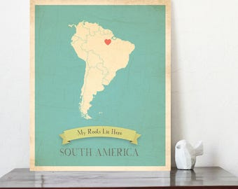 Map Wall Art, Map Artwork, South America Roots Map, 11x14, Customized Print, Map Art Print