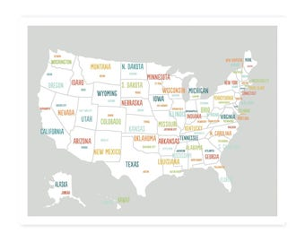 United States Map Digital Download Map Travel Map Usa Map Kids Map