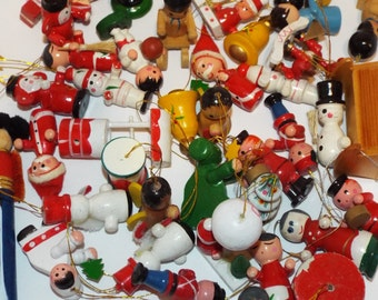 41 pieces of Vintage Wooden Christmas Ornaments. Hand Painted Christmas Ornaments.