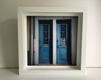 FineArt photo Twin doors in wooden frame-Brittany-blue-Hahnemuhle Photorag