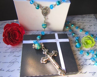 Rosary necklace  (Turquoise/ glow in the dark)