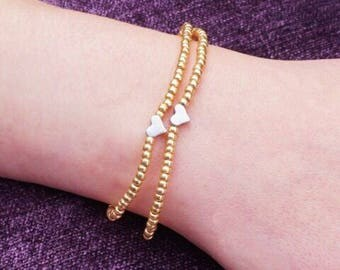 Set of two seed beaded rose gold bracelets