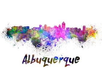 Albuquerque Skyline Watercolor, Albuquerque decor, Albuquerque Skyline, Albuquerque Wall Art, Albuquerque watercolor ,Albuquerque New Mexico