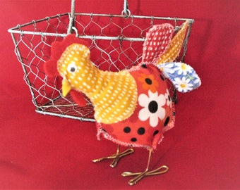 Fabric chicken, fabric birds, cute stuffed chicken, cloth chicken, stuffed animal, collectible, chicken collection, hen, rooster