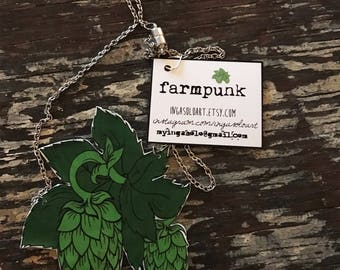 Hop necklace.  Perfect accessory for the HOP lover, BEER lover, brewery babe