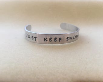 Just Keep Swimming motivational hand stamped cuff just keep swimming keep going you got this you can do it motivation for you