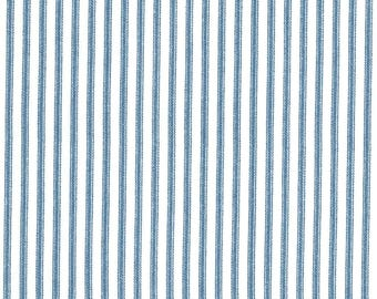 Anne of Green Gables Blue Ticking Stripe Print on Ivory 100% Cotton Fabric - FQ
