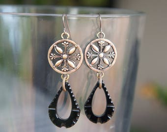 Floral Circles with Art Deco Antique Mourning Glass French Jet Drops Earrings French Brass Antique Vintage Style