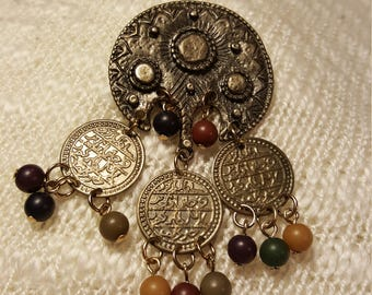 Vintage bohemian pin with beads and detailed metal