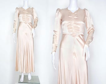 1930s Blush Satin Bias Cut Gown