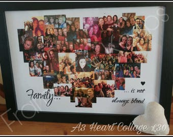 A3 Personalised Heart Collage & Frame