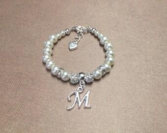 Pearl Bracelet, personalized bracelet, baby bracelet, baby pearl bracelet, flower girl bracelet, baptism bracelet, christening bracelet