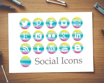 Instant Download - Watercolour Rainbow Social Media Icons