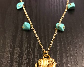 Handmade turquoise and gold elephant necklace
