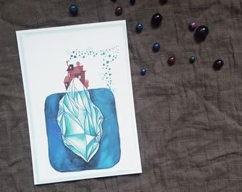 "Illustration - île paradisiaque - ""Iceberg village -"