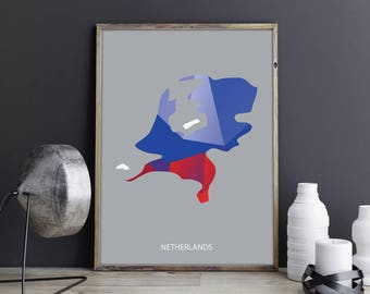 Netherlands Art Netherlands Wall Art Netherlands Photo Netherlands Print Netherlands Poster Netherlands Map Country Map Watercolor Map