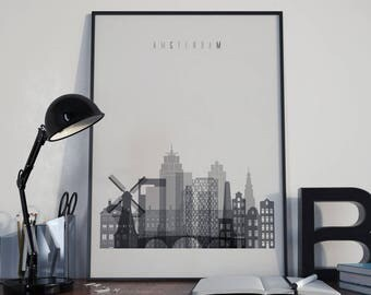 Amsterdam Art Amsterdam Watercolor Amsterdam Multicolor Amsterdam Wall Art Amsterdam Wall Decor Amsterdam Home Decor Amsterdam Poster Print