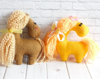 Horse stuffed toy Orange horse Brown crochet toys Knitted horse Amigurumi toy Baby Girl Nursery toy horse Doll Pony toy handmade stuffed toy