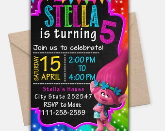 Trolls Invitation/ Trolls Birthday Invitation/ Trolls Birthday/ Trolls Party/ Trolls Invite/ Trolls Printable/ Trolls Card/ Trolls Digital