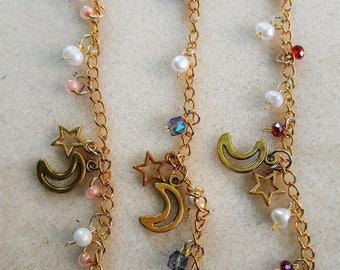 Girly Charm Bracelet, Kawaii Inspired Bracelet, Pearl Bracelet, Chain Bracelet, Bead Bracelet, Colorful Jewelry
