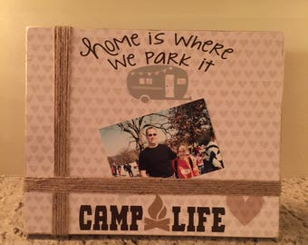 Camping wooden picture frame
