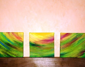 Light my path. Acrylic abstract three canvases