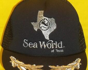 Vintage 1980s Caps Sea World Hat Trucker Hat Baseball Cap Snapback Hat Foam Front Mesh Back Cap Rope Brim Hats Sea World Of Texas T16 M7146