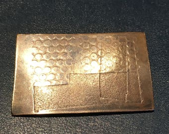Handmade Vintage Copper Stamped Rectangular Brooch