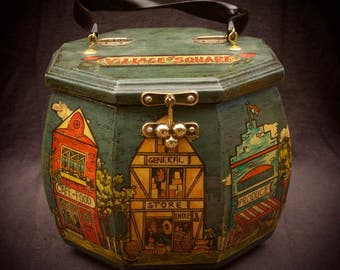 Vintage Wooden Box Purse with Decoupage Village Shops Stores