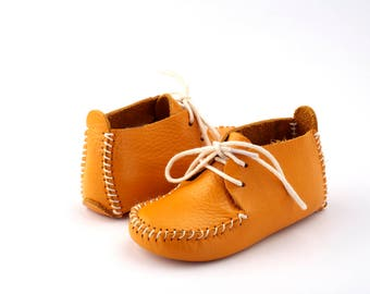 First Step Handmade Natural Leather Baby Shoe EUR 18 - 19 Yellow