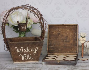 Wedding Guest Book Alternative Rustic Wedding Personalized Wishing Well Basket by Steven and Rae Designs