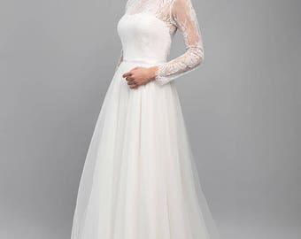 Corseted wedding dress / Fluffy skirt wedding gown / Chantilly lace wedding dress / Long sleeve wedding dress