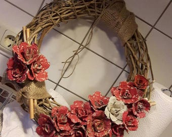 Door wreath handmade door wreath decoration radius of 40 cm new
