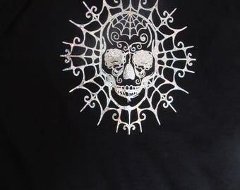 Skull and Web Detail T-Shirt, Medium