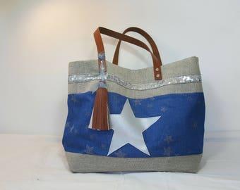 Bag handmade beige and blue - handles leather
