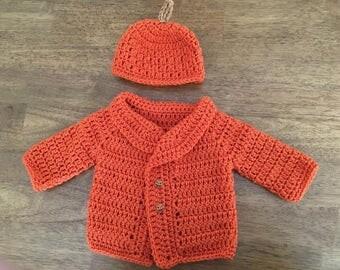 Crocheted Pumpkin Sweater and Beanie
