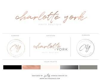 Rose  Gold Logo Brand Package,Branding Design Kit, Premade Branding Package, Logo Design, Calligraphy Logo, Boutique Logo, Bridal Shop Logo