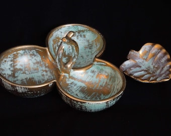 Pottery Stangl turquoise and gold