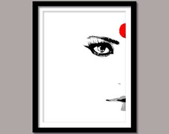 Face Print, Eye Digital Print, Woman Face Print, Instant Download, Face Wall Art, Black White Red, Art Prints, Printable Art, Minimal Art