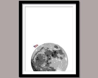 USA Flag Moon, American Flag Moon Print, Digital Download, Wall Art, Moon Wall Decor, Black White, Art Print, Printable Art, Minimalist Moon