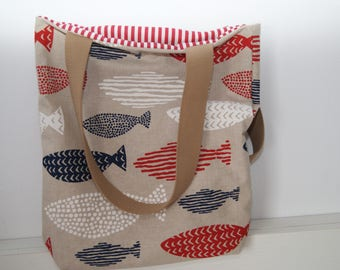 summer tote bag, bag fish